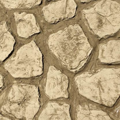 Vertical stamped concrete single stone rock set